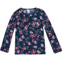 Blusa Floral- Azul Marinho & Rosa-Primeiro Passos