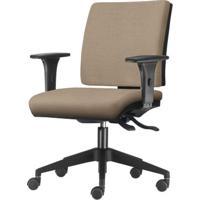 Cadeira Simple Com Braco Assento Courino Bege Base Nylon Piramidal - 54940 - Sun House