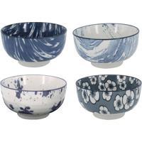 Jogo De Bowls- Azul Escuro & Branco- 4Pã§Sbtc Decor