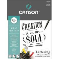 Bloco Artístico A4 Canson Creation Marker Lettering 180G Com 20 Folhas