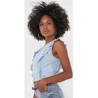 Blusa Cropped Jeans Dimy Babados Azul