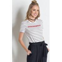 T-Shirt Miss Masy Listrada Com Estampa Frontal