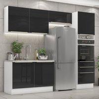 Cozinha Completa Madesa Lux 260005 Com Armário E Balcáo - Branco/Preto Branco