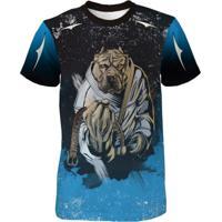 Camiseta Quisty Dry Fit Pitbull Dog Fighter Jiu Jitsu Azul