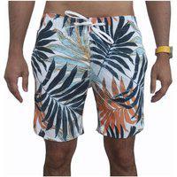 Bermuda Short Tactel E Elastano Opice Moda Praia Estampado Branca