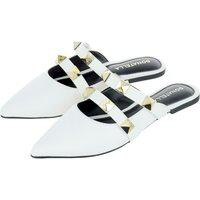 Sapato Mule Feminino Donatella Shoes Tira Com Aplicação Branco