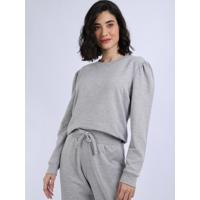 Pijama Feminino Manga Bufante Cinza Mescla