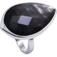 Anel De Prata Cristal De Quartzo Negro Gota