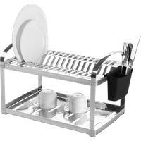 Escorredor Aço Inox 16 Pratos Com Escorredor De Talheres Plástico - Suprema 50,5 X 27 X 28,5 Cm - Brinox