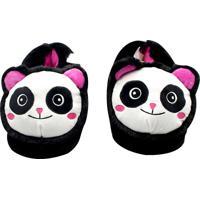Pantufa Panda Zona Criativa Preta - Preto - Feminino - Dafiti