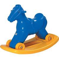 Cavalinho Balanço E Andador Azul Alpha Brinquedos
