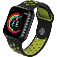 Relógio Smartwatch F8 Monitor Cardíaco Preto/Verde