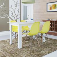 Conjunto De Mesa Cogma Com 4 Cadeiras Eames Base Madeira Branco E Amarelo