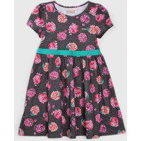 Vestido Carinhoso Infantil Floral Grafite/Rosa