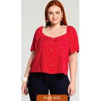 Blusa Plus Size Rayon Ciganinha Vermelho