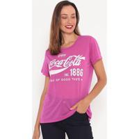 """Blusa Em Flamê """"Coca-Cola®""""- Pink & Branca- Coca-Colcoca-Cola"""