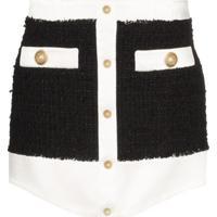 Balmain Minissaia De Tweed Com Botões - Preto