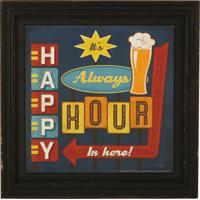 Quadro Decorativo Vintage Com Moldura Happy Hour