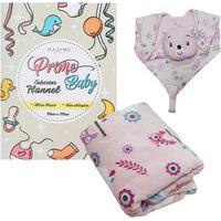 Kit 2 Peças Acessórios Para Bebê Inverno Naninha Cobertor Rosa