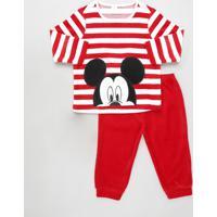 Conjunto Infantil Mickey De Blusão Listrado + Calça Em Plush Vermelha