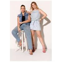 Colete Feminino Jeans Com Detalhes Frontais E Fechamento Por Botões Elegance