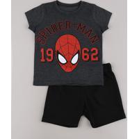 Conjunto Infantil Homem Aranha De Camiseta Manga Curta Cinza Mescla Escuro + Bermuda Em Moletom Preta