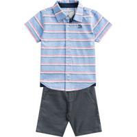 Conjunto De Camisa Listrada + Bermuda- Azul Claro & Cinzmundi