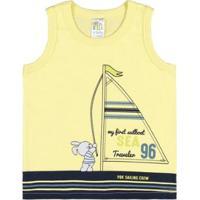 Camiseta Regata Infantil Pulla Bulla Meia Malha Masculino - Masculino-Amarelo