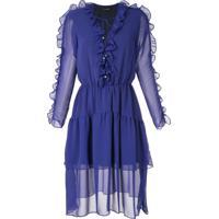 Olympiah Vestido Curto Ravena Com Babados - Azul