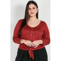 Blusa Plus Size Telha Com Amarração E Botões