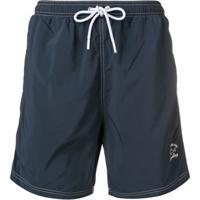 Paul & Shark Shorts De Banho Com Logo Bordado - Azul