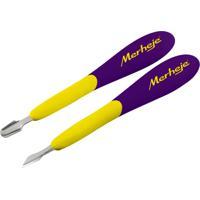 Conjunto – Merheje - Touch - 2 Espátulas Para Cutículas - Amarelo / Violeta