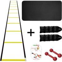 Kit Colchonete + Halter 2Kg +Caneleira 2Kg +Escada Agilidade - Unissex