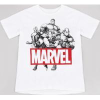 Camiseta Juvenil Marvel Os Vingadores Manga Curta Off White