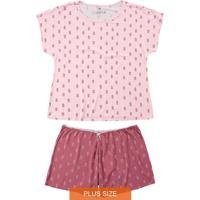 Pijama Rosa Plus Size Abacaxis Em Viscose
