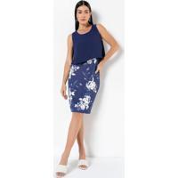 Vestido Com Sobreposição Floral Azul
