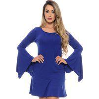 Vestido Curto Manga Longa Flare Com Pontas B'Bonnie Flora Azul Royal