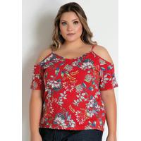 Blusa Floral Vermelha Alças E Mangas Plus Size