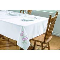 Toalha De Mesa Dourados Enxovais Primavera 1,40X1,40 Branco/Pink