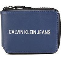 Carteira De Zíper Couro Calvin Klein Logo Masculina - Masculino-Marinho
