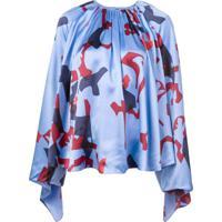 Roksanda Blusa De Seda Estampada - Azul
