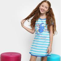 Camisola Infantil Lupo Listrada Estampa Procurando Dory Feminina - Feminino-Azul