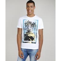Camiseta Masculina Coqueiro Com Caveira Manga Curta Gola Careca Off White