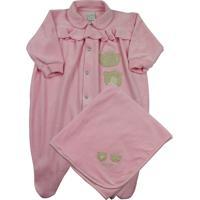 Jogo Saída Maternidade Ano Zero Bebê 2 Ursinhas Rosa