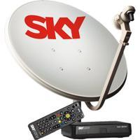 Antena 60 Cm + Receptor Sky Pré Pago Flex Hd