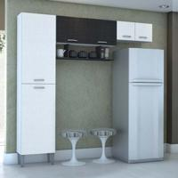 Cozinha Compacta Cris 6Pt Branco E Preto
