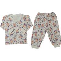 Pijama Malha Para Bebê Menina Estampado - P Ao G