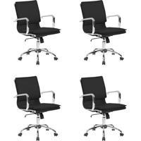 Conjunto Com 4 Cadeiras De Escritório Diretor Giratórias Eames Comfort Preto