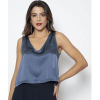 Blusa Em Seda- Azul Escuro- Aboutabout