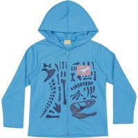 Jaqueta Em Moletom Dinossauro- Azul & Azul Marinhomineral Kids